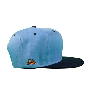 Basic Two-Tone Snap Back in Carolina And Navy Blue
