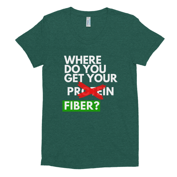 Where Do You Get Your Fiber Women's Crew Neck T-shirt