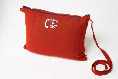 The Best Wearable Travel Pillow and Stow away Blanket Red
