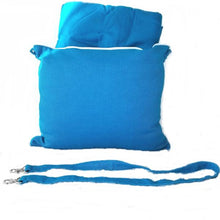 The Best Wearable Travel Pillow and Stow away Blanket Blue
