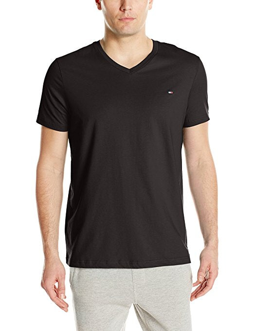 Tommy Hilfiger Men's Core Flag V-Neck Tee - Black