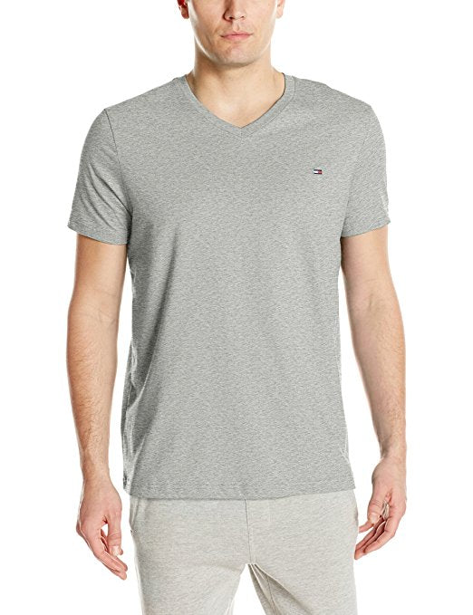 Tommy Hilfiger Men's Core Flag V-Neck Tee - Heather Grey