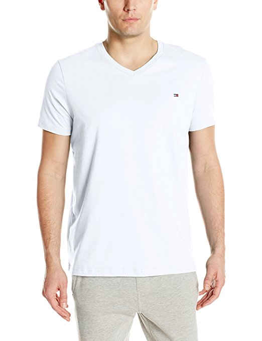 Tommy Hilfiger Men's Core Flag V-Neck Tee - White