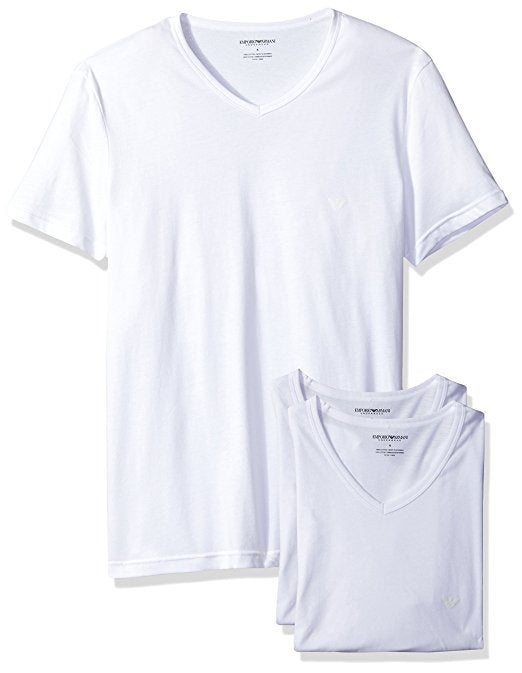 EMPORIO ARMANI COTTON V-NECK T SHIRT 3-PACK