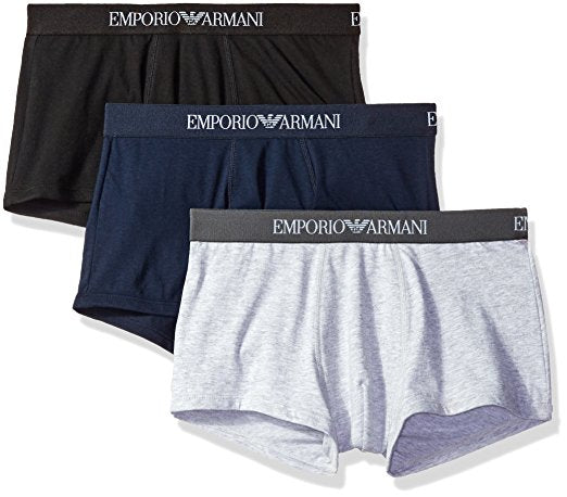 EMPORIO ARMANI 3-PACK COTTON TRUNKS - NAVY BLUE/HEATHER GREY/BLACK