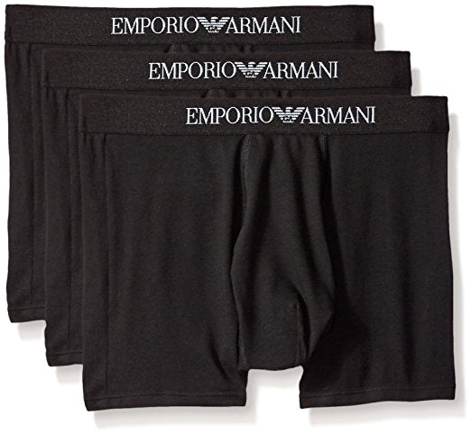 EMPORIO ARMANI COTTON BOXER BRIEFS 3- PACK - BLACK