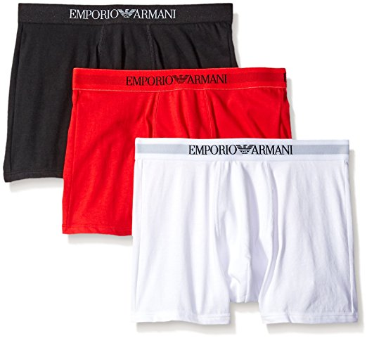 EMPORIO ARMANI COTTON BOXER BRIEFS 3- PACK - BLACK/RED/WHITE