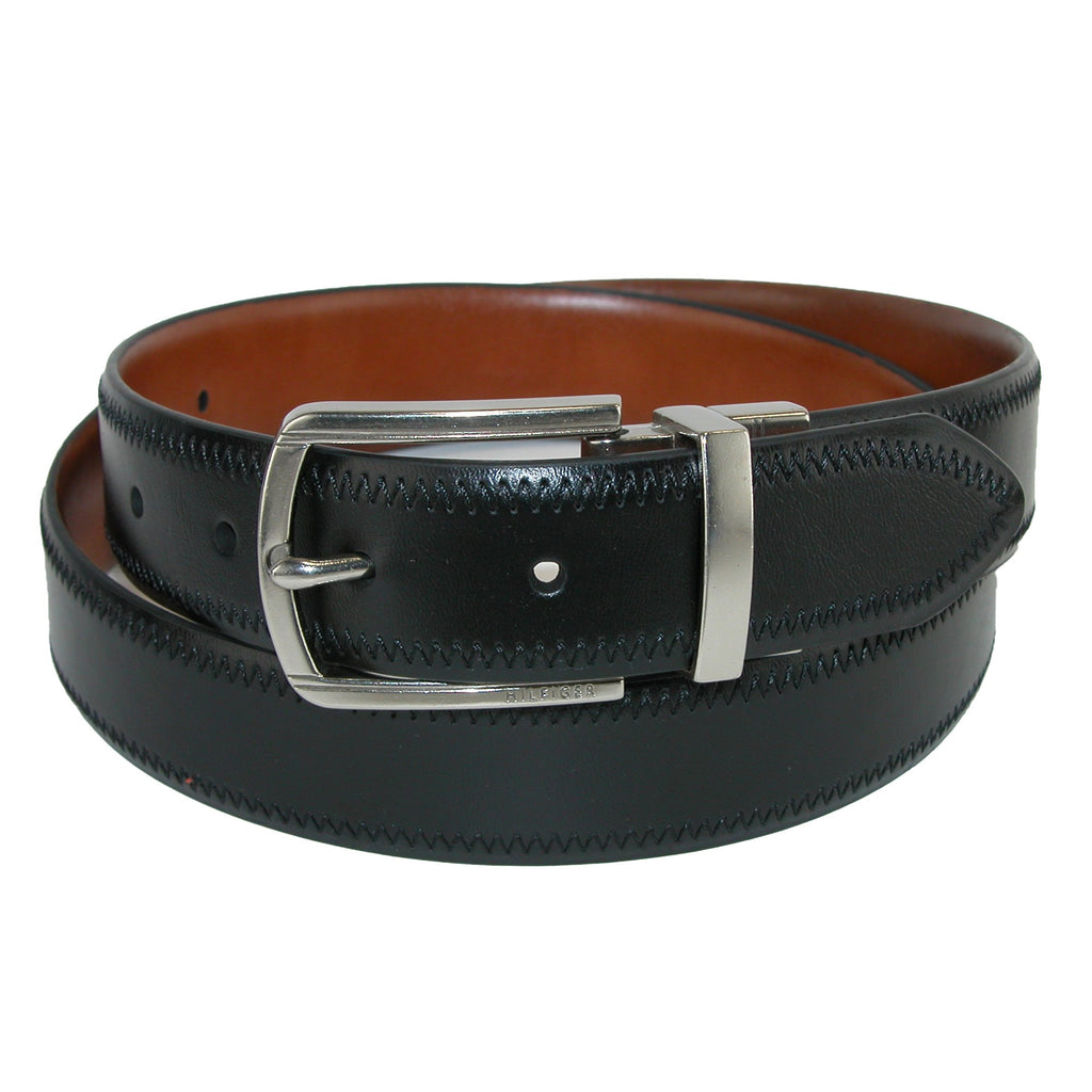 TOMMY HILFIGER FEATHER EDGE REVESIBLE BELT WITH STITCH