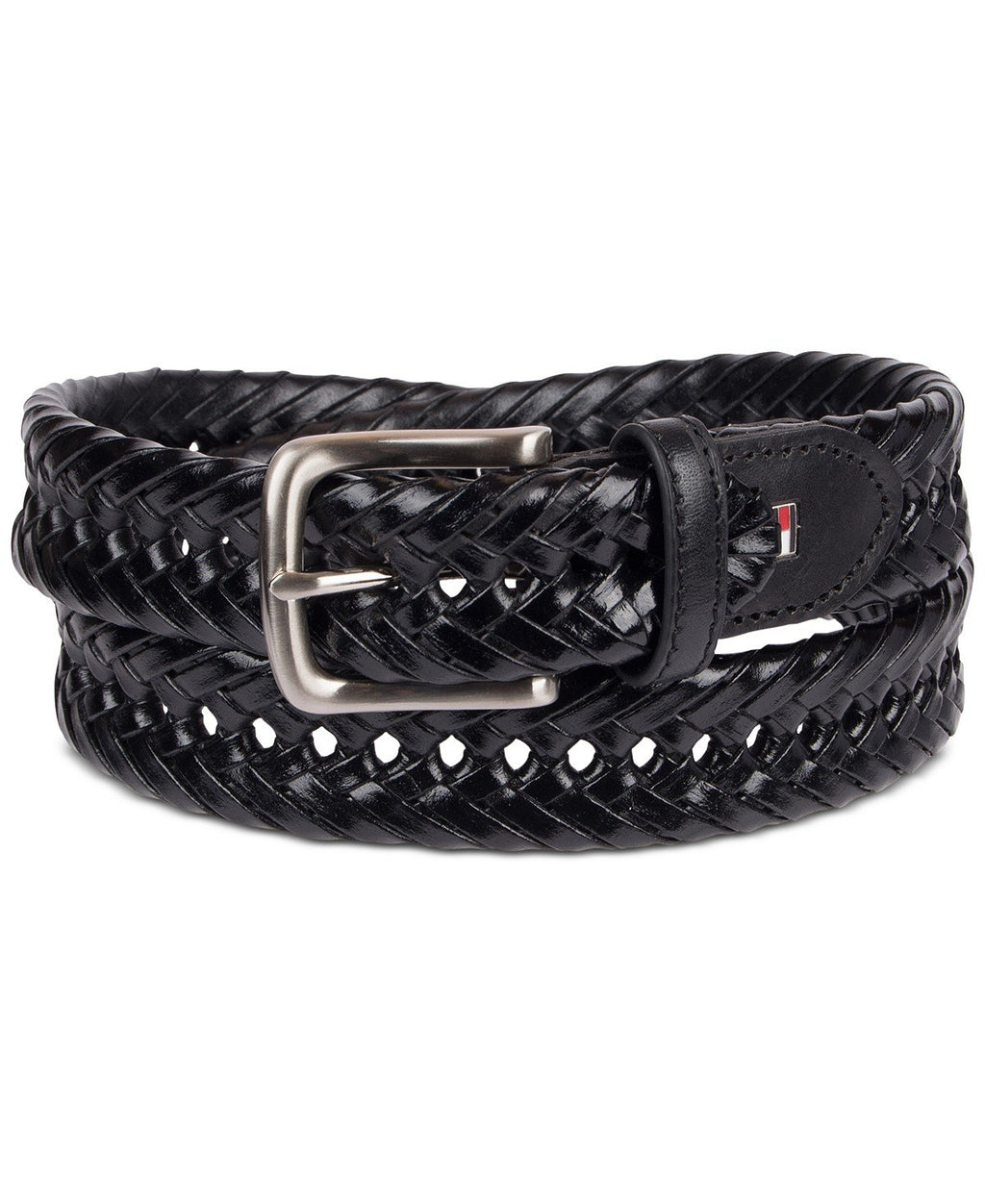 TOMMY HILFIGER BREADED LEATHER BELT