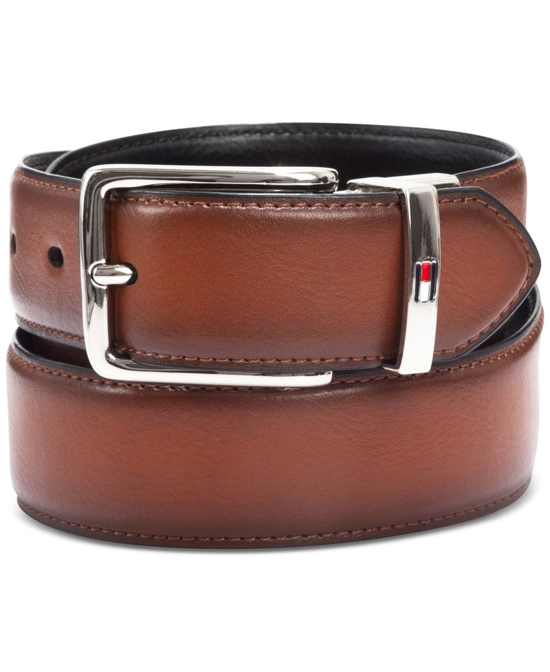 TOMMY HILFIGER FEATHER-EDGE REVERSIBLE LOGO BELT
