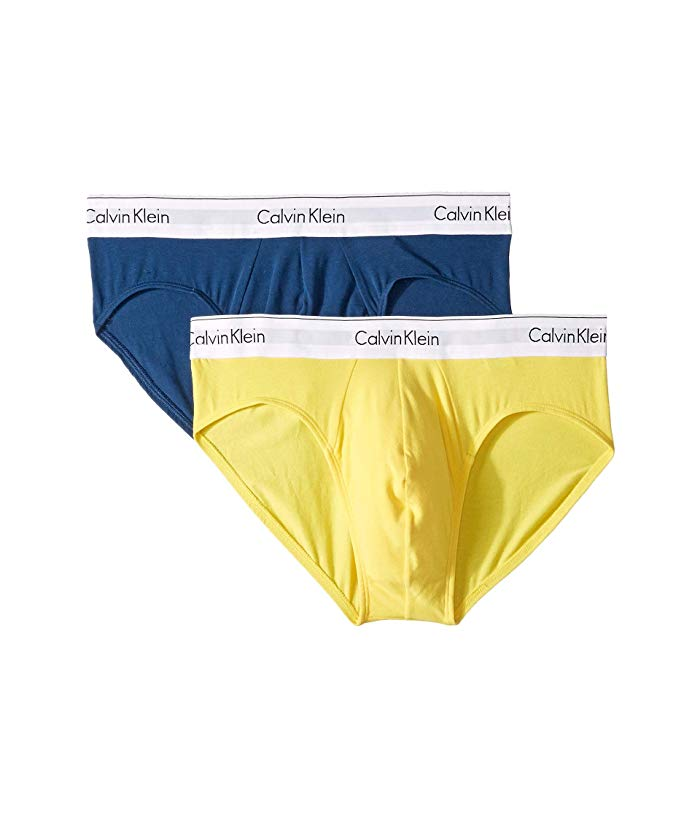 CALVIN KLEIN MODERN COTTON STRECTCH BRIEF - 2 PACKS NB1084 Airforce/Lemon Zest