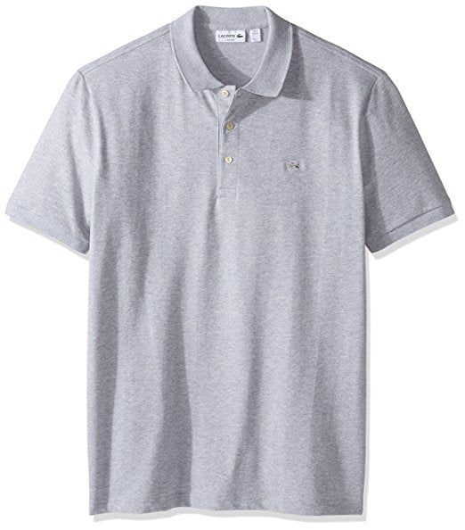LACOSTE MEN'S SHORT SLEEVE STRETCH GREY CROC PIQUE POLO SHIRT