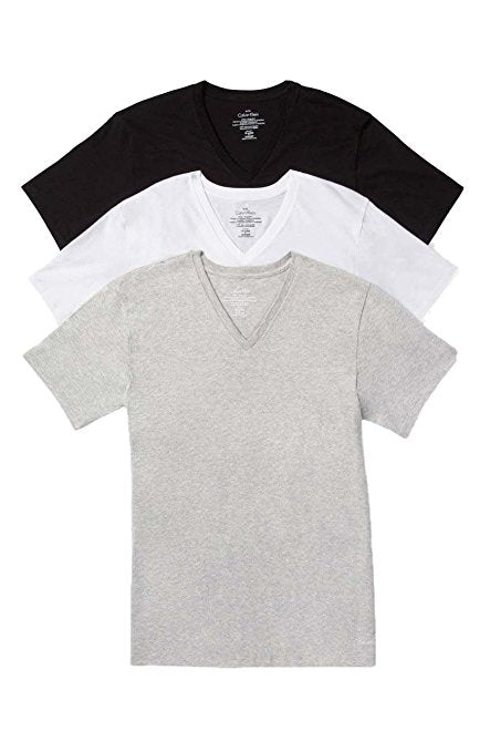 COTTON CLASSICS S/S V NECK TEE 3 PACK M4065 - BLACK/WHITE/HEATHER GREY