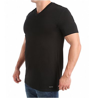 BIG AND TALL COTTON CLASSICS V NECK TEE 2 PACK NB1105 - BLACK