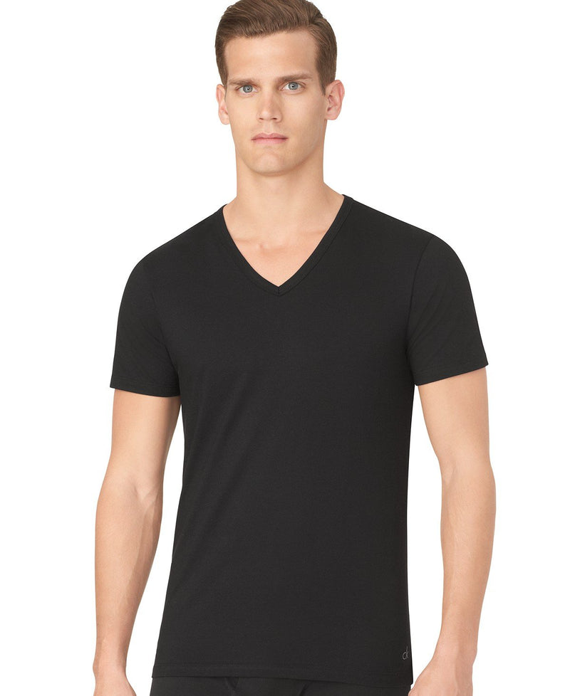 COTTON STRETCH SLIM FIT S/S V NECK TEE 3 Pack NB1177 - BLACK