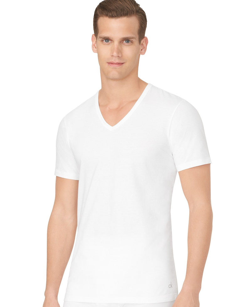 COTTON STRETCH SLIM FIT S/S V NECK TEE 3 Pack NB1177 - WHITE