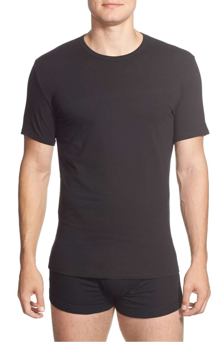 COTTON STRETCH S/S CREW NECK TEE 2 PACK NB1178 - BLACK
