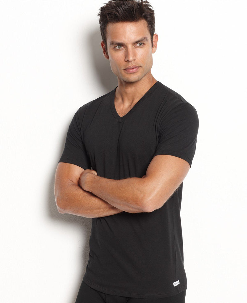 COTTON STRETCH S/S V NECK TEE 2 PACK NB1179 - BLACK
