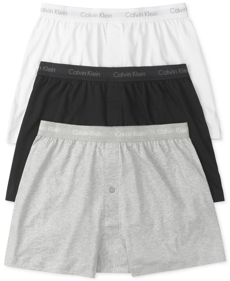 COTTON CLASSICS KNIT BOXER 3 PACK NU3040 - HEATHER GREY/WHITE/BLACK