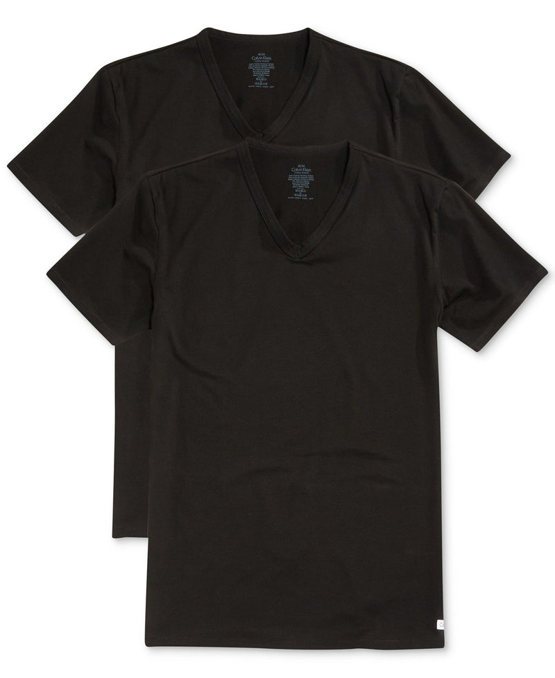 BIG AND TALL COTTON CLASSICS V NECK TEE 2 PACK NU8581 - BLACK