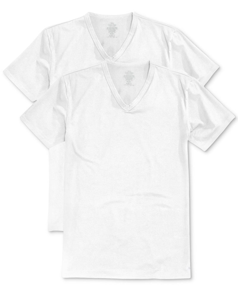 BIG AND TALL COTTON CLASSICS V NECK TEE 2 PACK NU8581 - WHITE