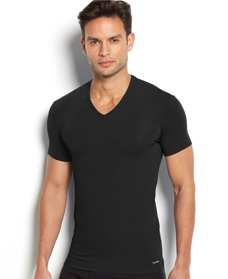 BODY MODAL -SLEEP/LOUNGE S/S V NECK TEE U5563 - BLACK