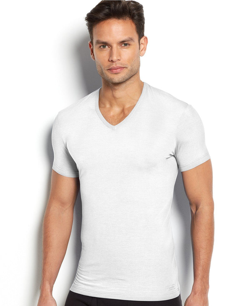 BODY MODAL -SLEEP/LOUNGE S/S V NECK TEE U5563 - WHITE
