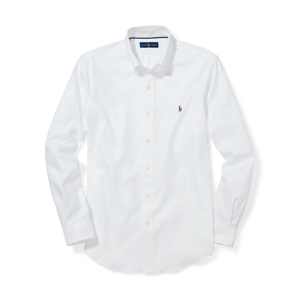 RALPH LAUREN POLO OXFORD SPORT SHIRT - WHITE