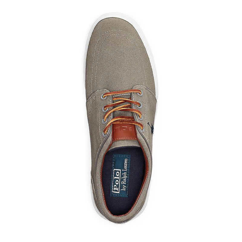 POLO RALPH LAUREN FAXON LOW CANVAS SNEAKERS W/LEATHER LACES