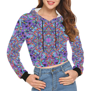 Colorburst All Over Print Crop Hoodie for Women (Model H22)