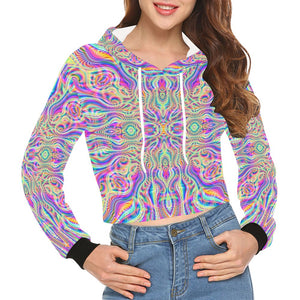 Blossom All Over Print Crop Hoodie for Women (Model H22)