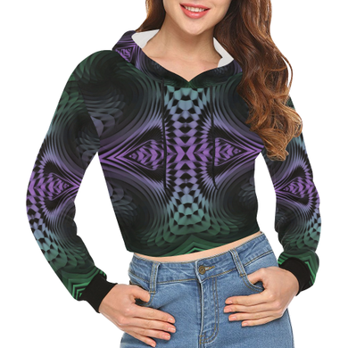 Unfolding All Over Print Crop Hoodie for Women (Model H22)