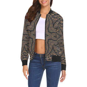 Elemental Earth All Over Print Bomber Jacket for Women (Model H19)