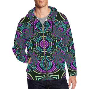 Neon Leafs All Over Print Full Zip Hoodie for Men (Model H14)