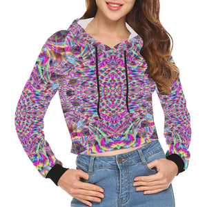 Astonishment All Over Print Crop Hoodie for Women (Model H22)