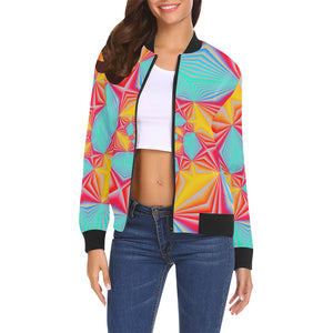 Vortex All Over Print Bomber Jacket for Women (Model H19)
