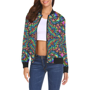 Meditative Thoughts All Over Print Bomber Jacket for Women (Model H19)
