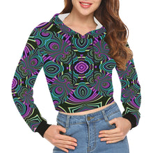 Neon Leafs All Over Print Crop Hoodie for Women (Model H22)