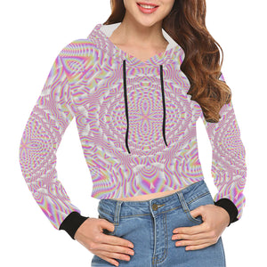 Pink Waves All Over Print Crop Hoodie for Women (Model H22)