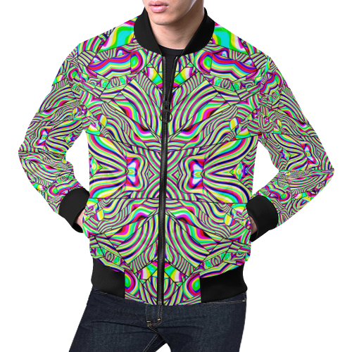 No Signal All Over Print Bomber Jacket for Men (Model H19)