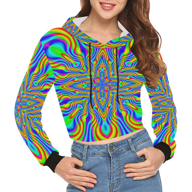 Higher Frequencies All Over Print Crop Hoodie for Women (Model H22)