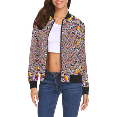 Ripples All Over Print Bomber Jacket for Women (Model H19)
