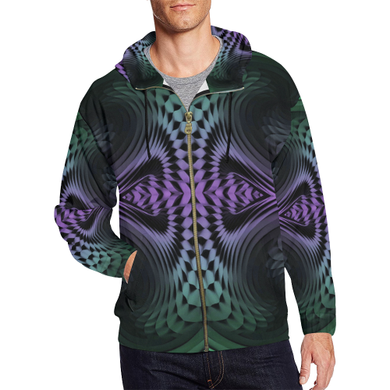 Unfolding All Over Print Full Zip Hoodie for Men (Model H14)