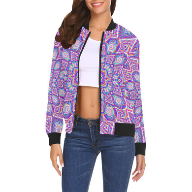 Delicate All Over Print Bomber Jacket for Women (Model H19)