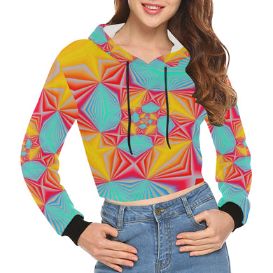 Vortex All Over Print Crop Hoodie for Women (Model H22)