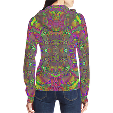 Trippydelik All Over Print Full Zip Hoodie for Women (Model H14)