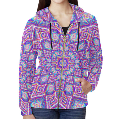 Delicate All Over Print Full Zip Hoodie for Women (Model H14)