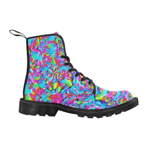 Rainbow Bubbles Martin Boots for Women (Black) (Model 1203H)