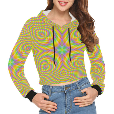 Pure All Over Print Crop Hoodie for Women (Model H22)