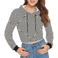 Fiber Optics All Over Print Crop Hoodie for Women (Model H22)